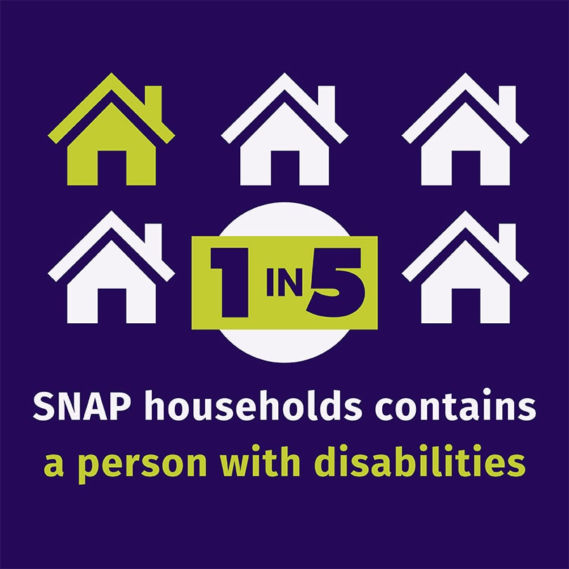 Graphic depicting that 1 in 5 SNAP households contains a person with disabilities